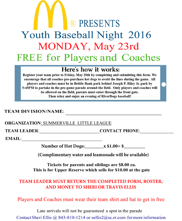 RiverdogsYouthBaseballNight