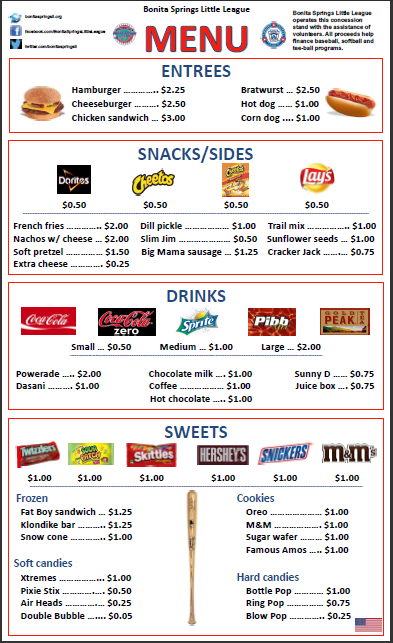 2014 Concession Stand Menu