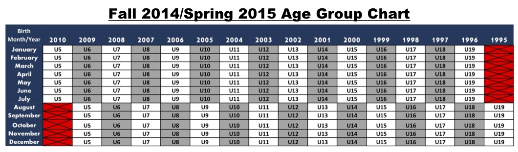 Fall 2014/Spring 2015 Age Group Chart