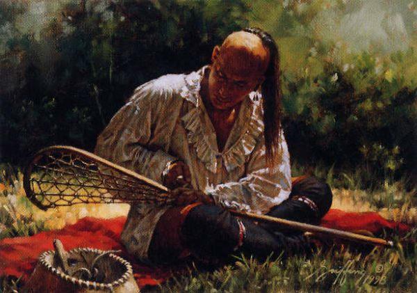 Native American Stringing Stick Painting