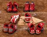 The spikes worn by silver medalists Laura Berg, Crystl Bustos, Kelly Kretschman, Tairia Flowers, and Lovieanne Jung of the United States remain at home plate after the players left them there following USA's 3-1 loss to Japan during the women's grand final gold medal softball game at the Fengtai Softball Field during Day 13 of the Beijing 2008 Olympic Games on August 21, 2008 in Beijing, China. The last time softball was played in the Olypmics.