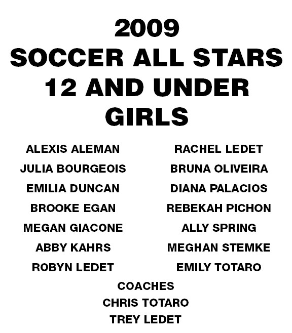 Socc09=U12 Girls Allstar Roster