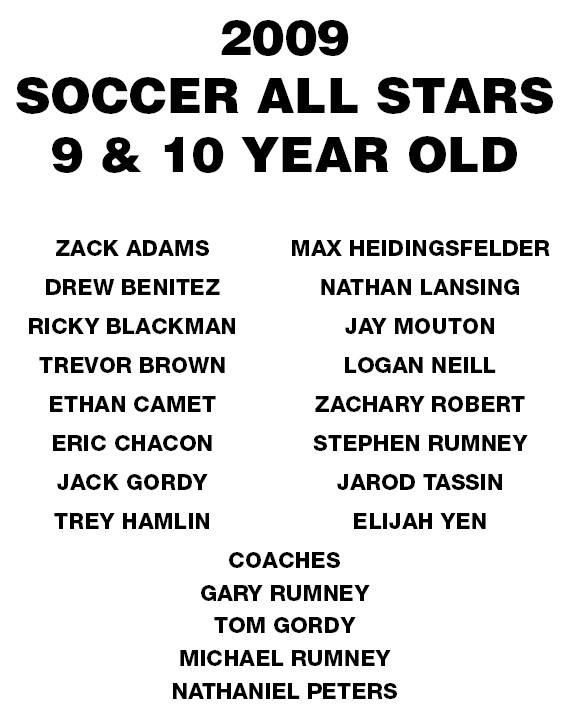 Socc09=U10 Allstar Roster