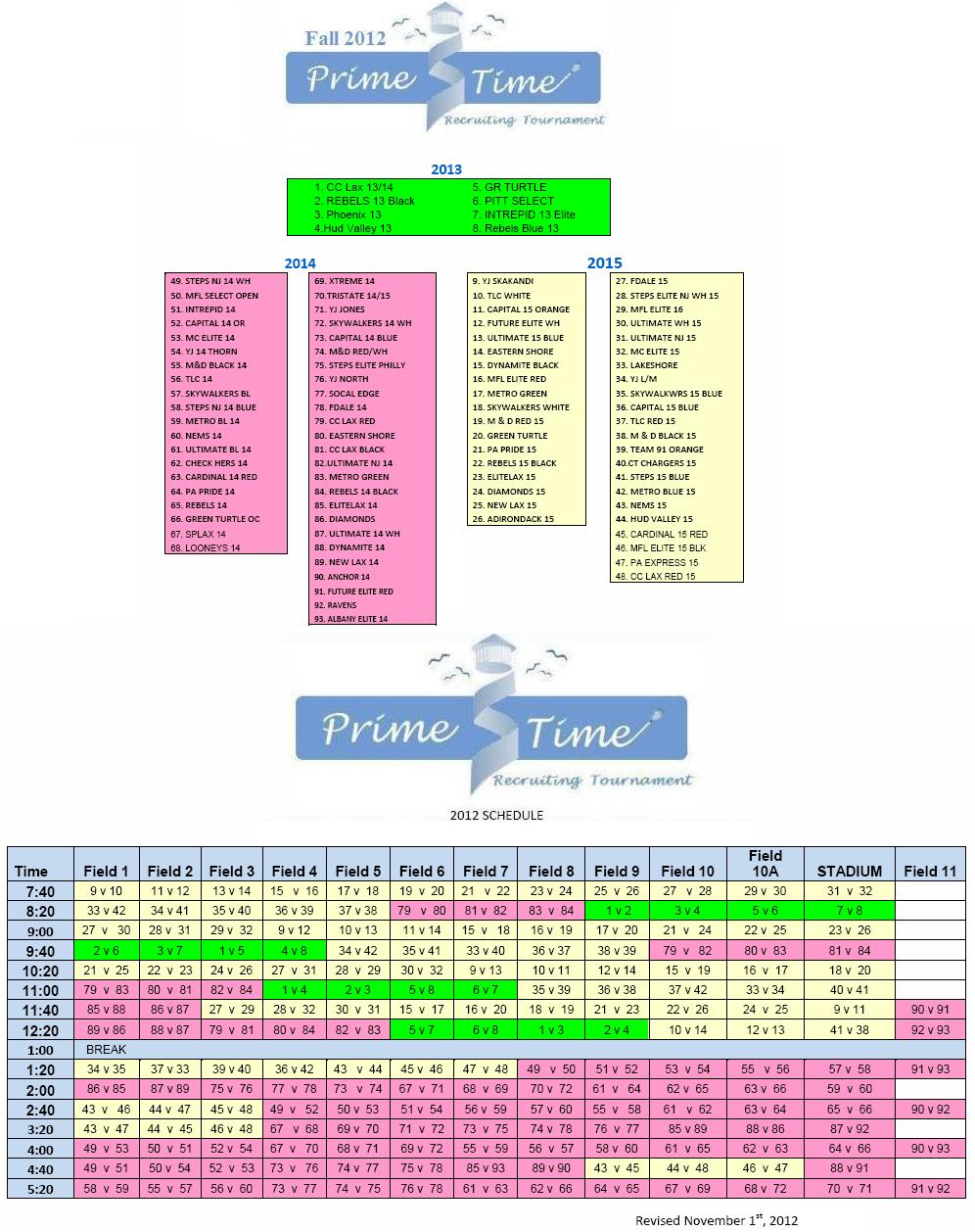 2012 Prime Time Key & Schedule 11.1.12