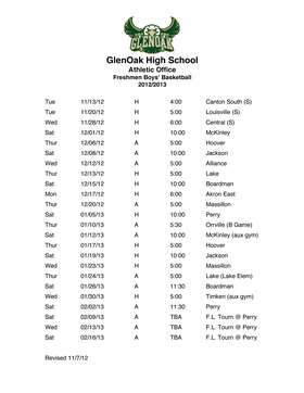 freshman schedule