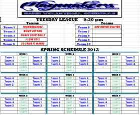 Spring 2013 Tuesday 930 League