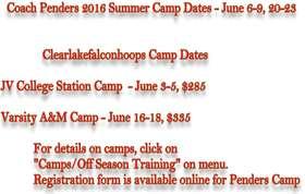 2016 Camp Dates