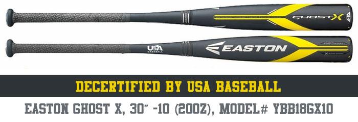 Easton Ghost X 30/20, Model# YBB18GX10 Decertifid by USA Baseball