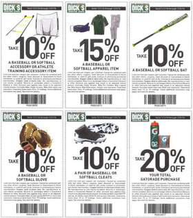 2015 Dick's Baseball - Softbal Coupons