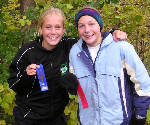 Shari and Laura with race ribbons