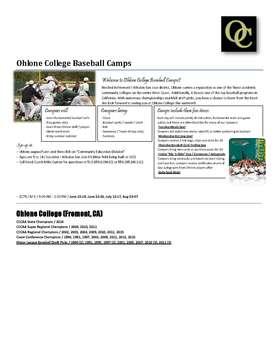 Ohlone Baseball Camp