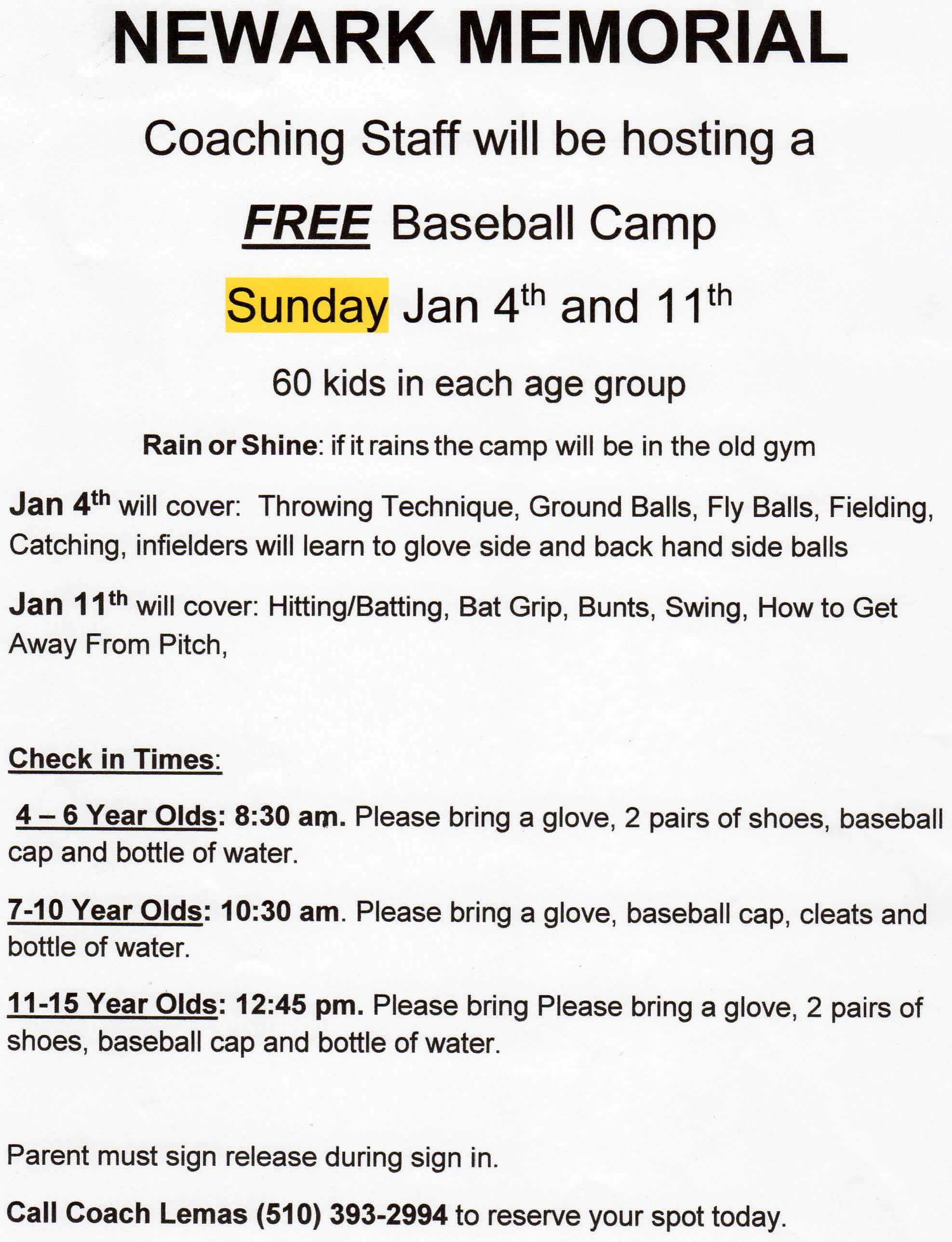 Newark Memorial Baseball Camp Flyer