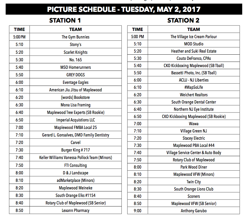 May 10 photo schedule