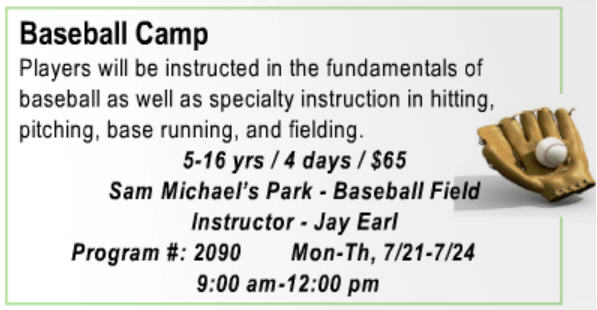 JCPRC Baseball Camp