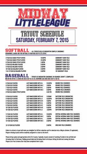 2015 Tryout Schedule
