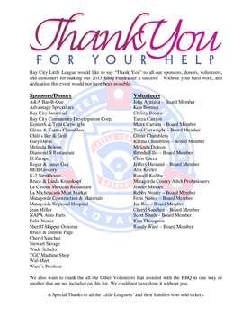 2013 bbq thank you