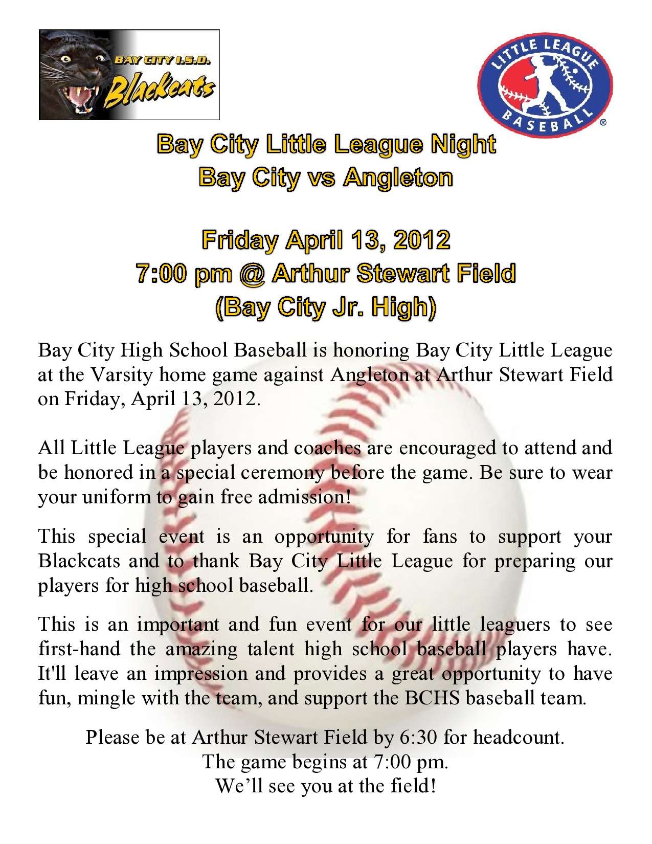 Bay City Little League Night 2012