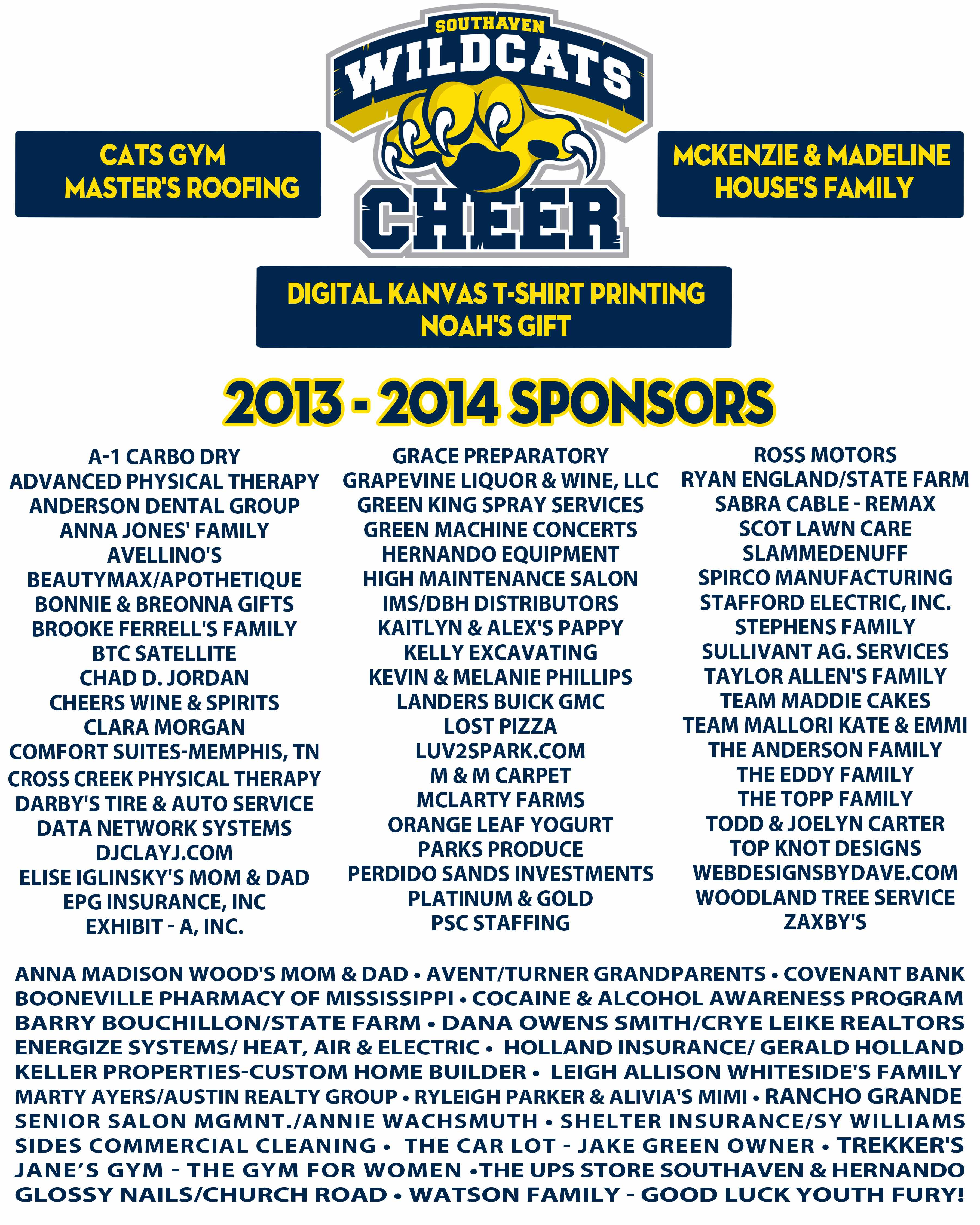 2013-2014 Sponsors