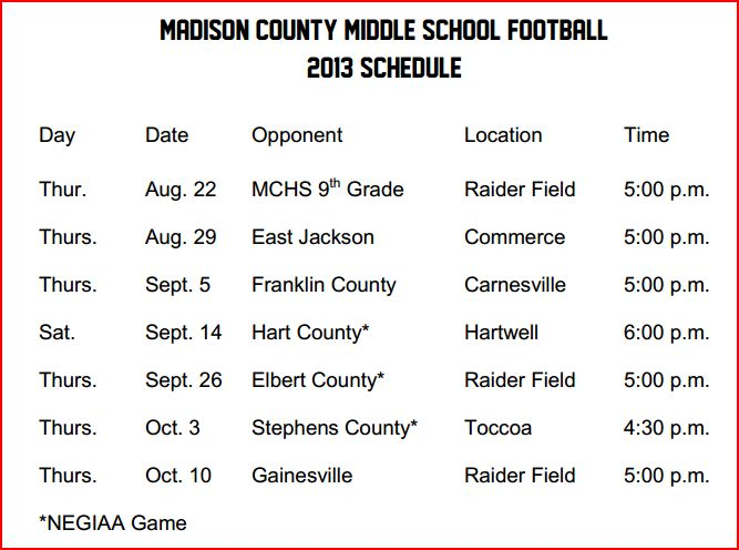 2013 mcms schedule