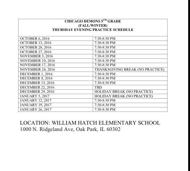 Gr 5 Schedule