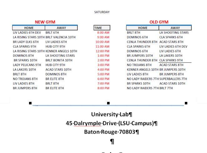 Baton Rouge Tigers Schedule