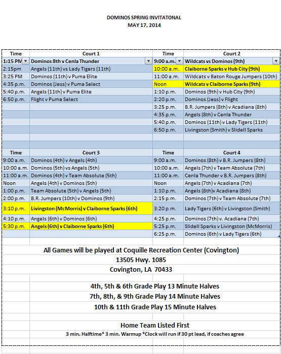 Dominos Invitational Schedule