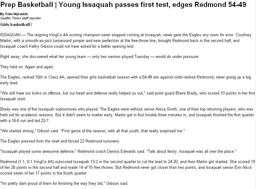 Issy vs Redmond News