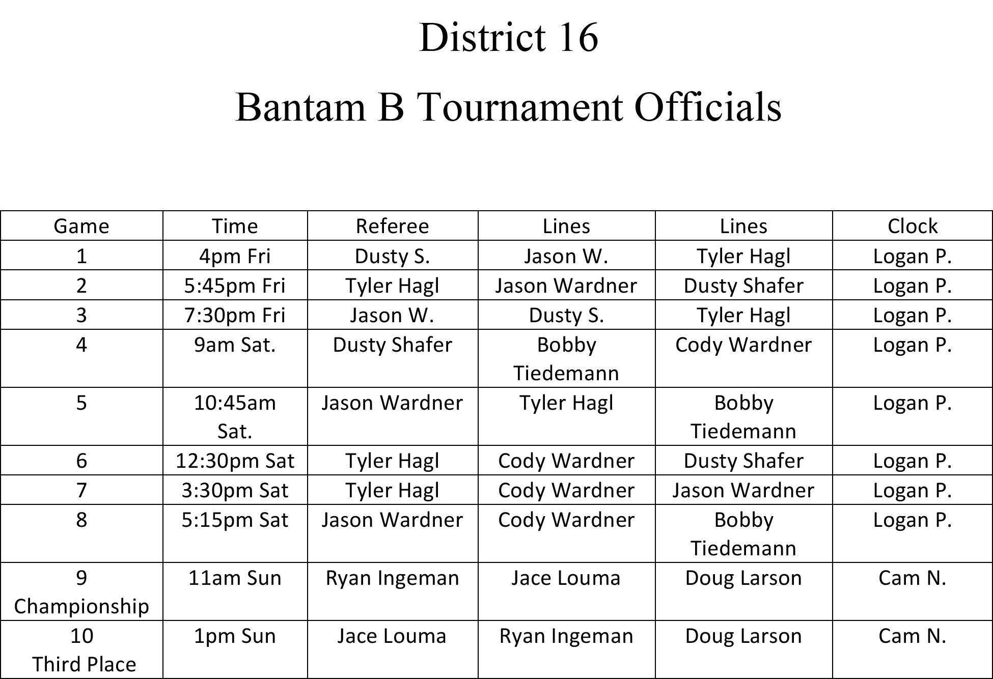 Bantam B District Officials