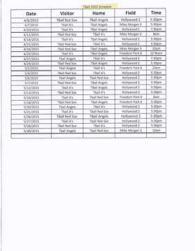 2015 TBall Schedule