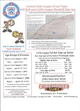 2016 Fall Ball Sign up Flyer