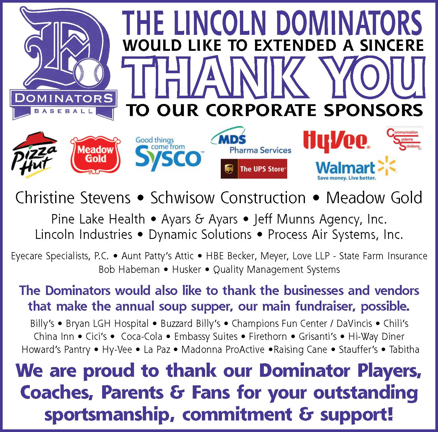Thank you 2009 sponsors!