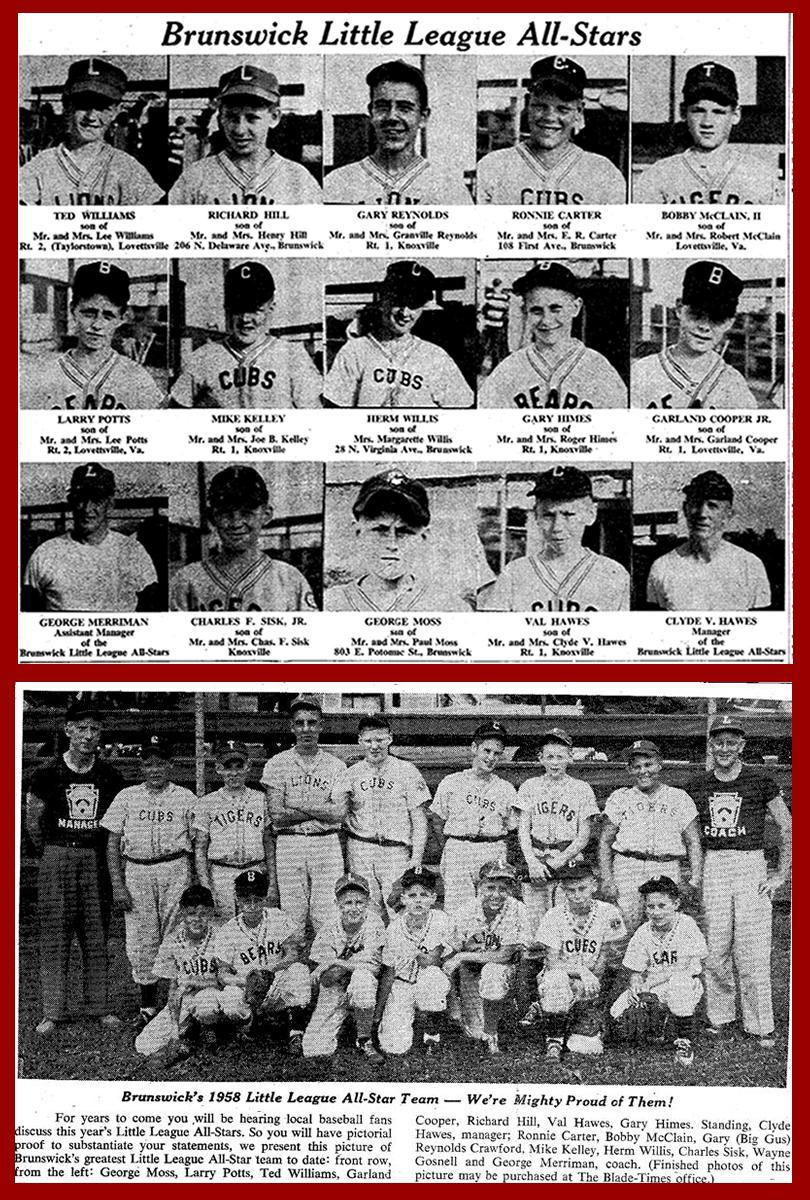 1958 Team & Individual Pictures