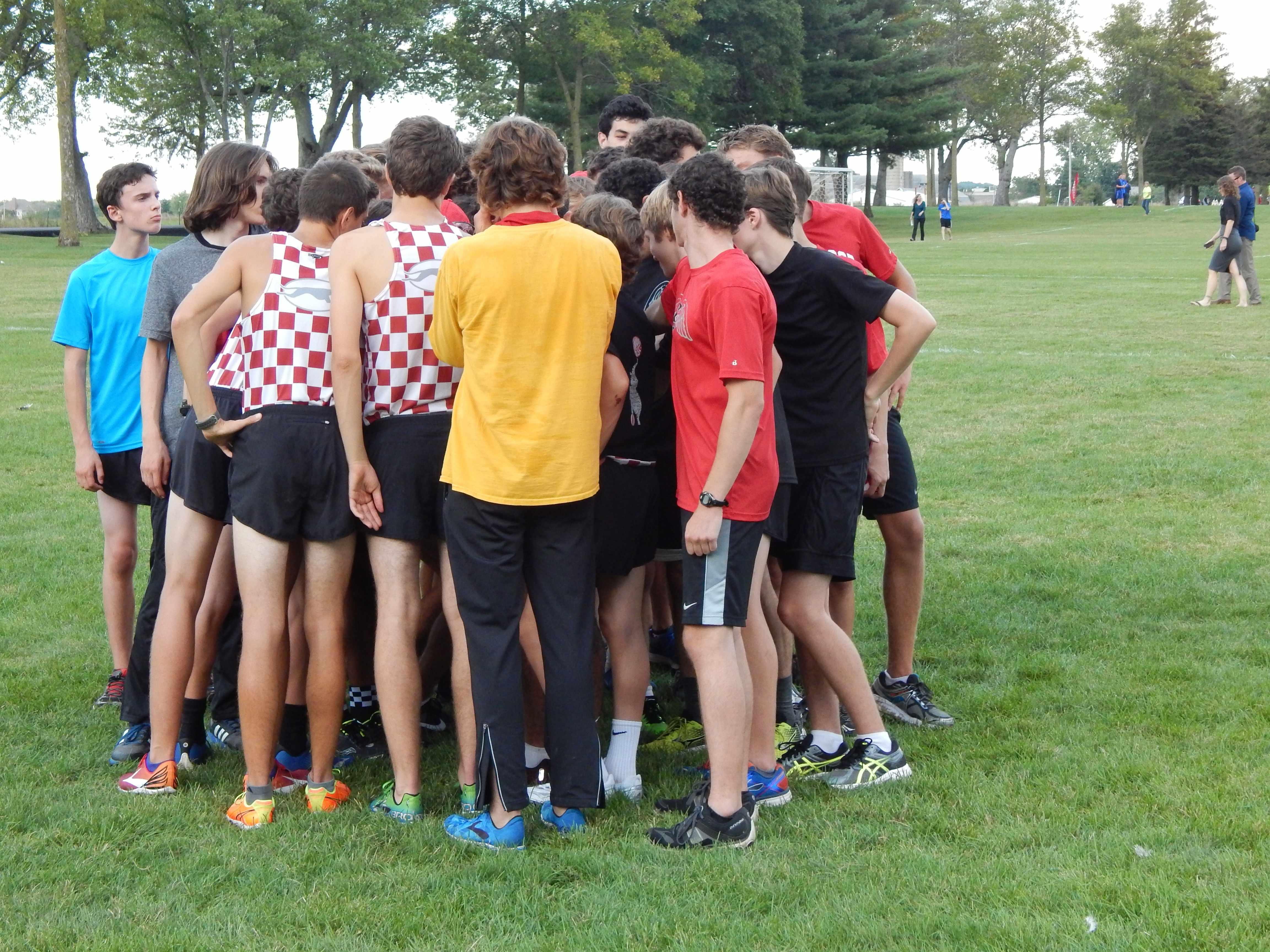 Pre-race huddle