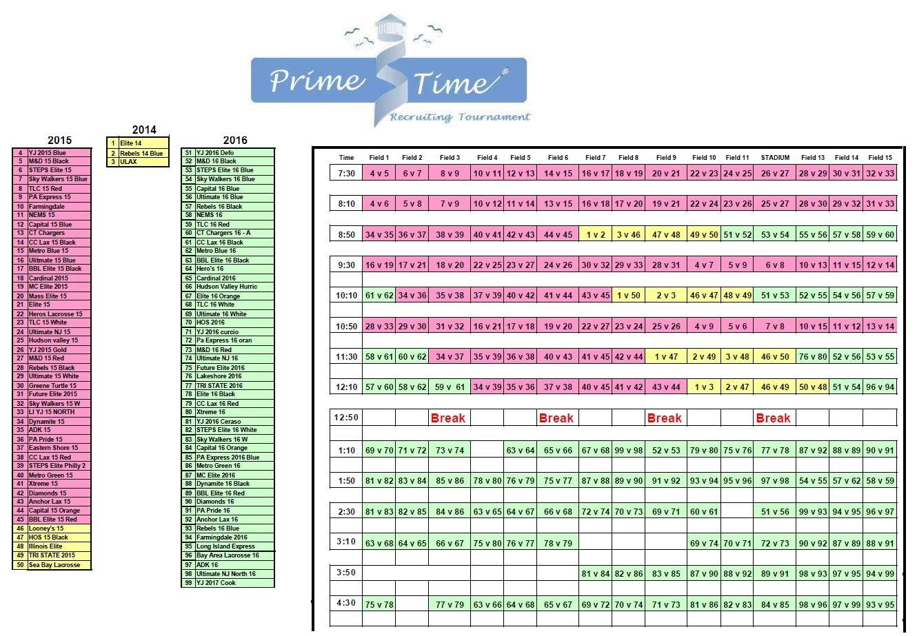 2013 Prime Time Teams & Schedules