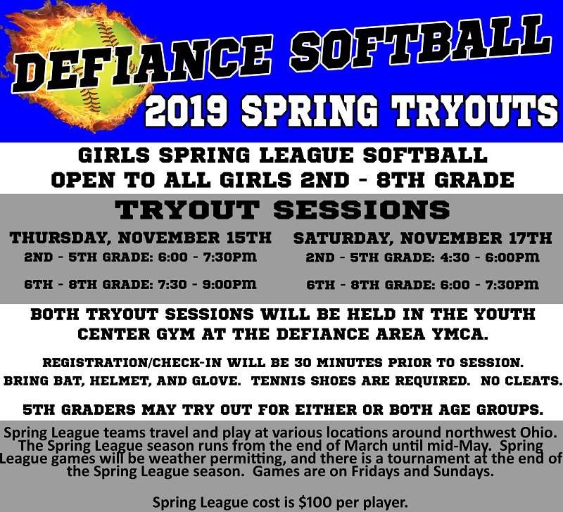 TeamPages: Defiance Softball Association - 2019 Spring League Tryouts