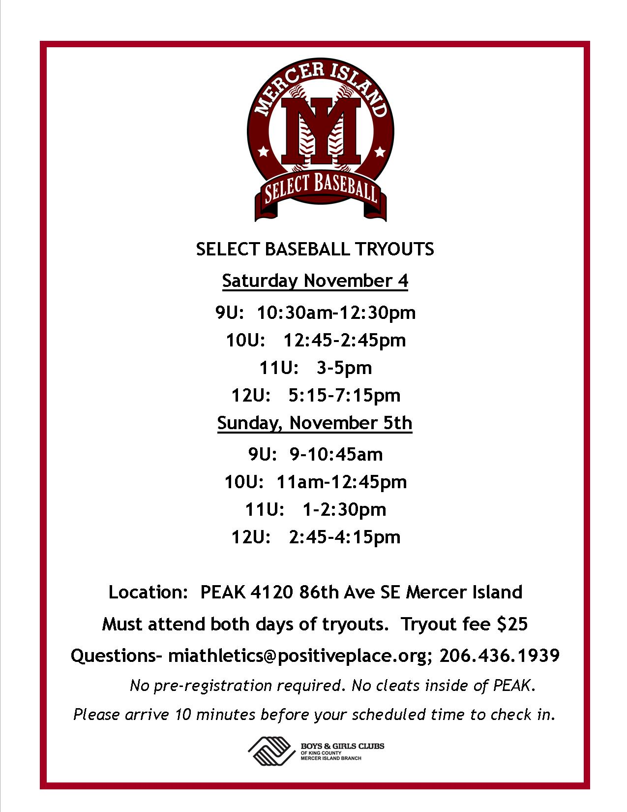 2018 Tryout Flyer