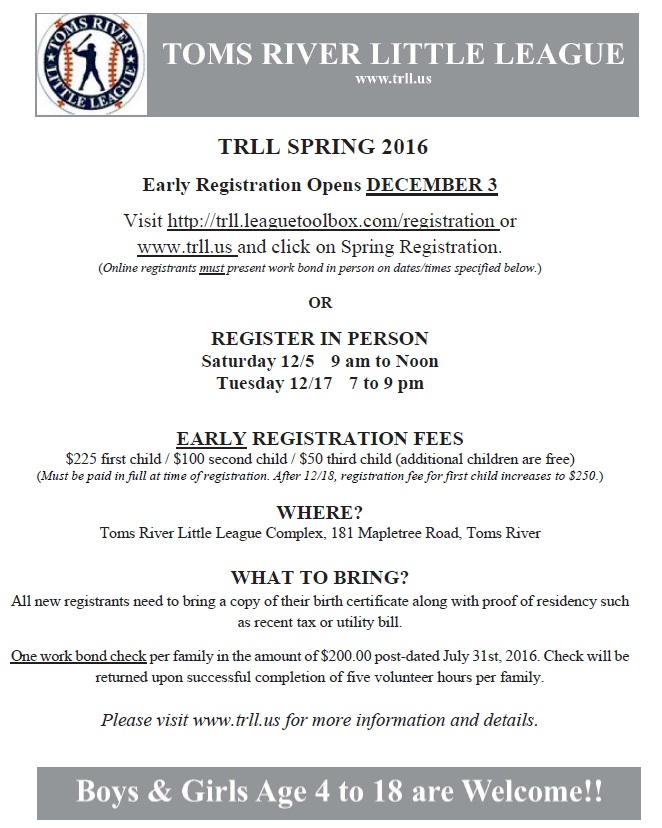 Spring 2016 Early Registration