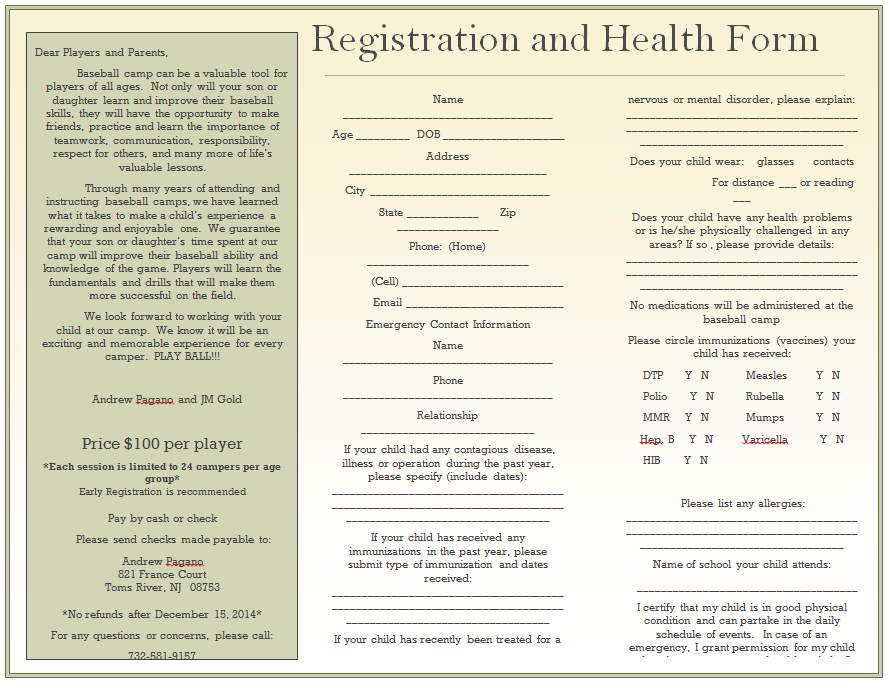 2014 Winter Camp Registration
