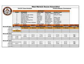 Jr Wizard and U6 Schedule