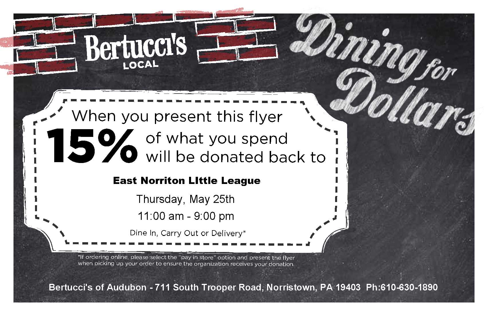 2017 Bertucci's Dining for Dollars - May