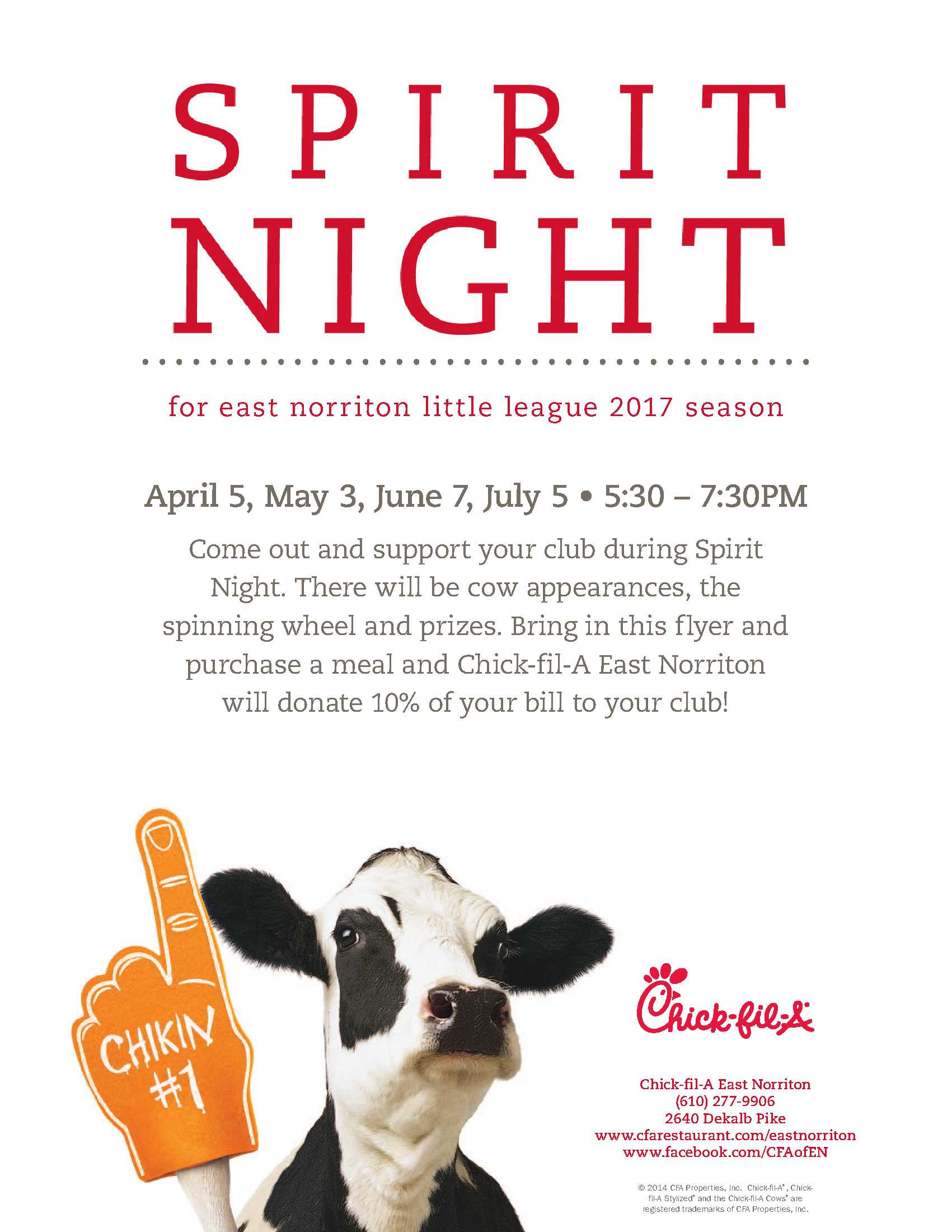 2017 ENLL Chick-fil-A Spirit Night flyer