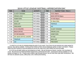 Opening Day Schedule