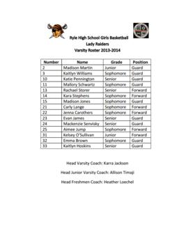 Varsity Roster 2013-2014