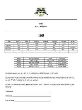 10U Fall Schedule