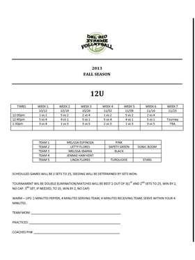 12U Fall Schedule