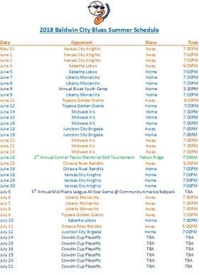 Blues Schedule