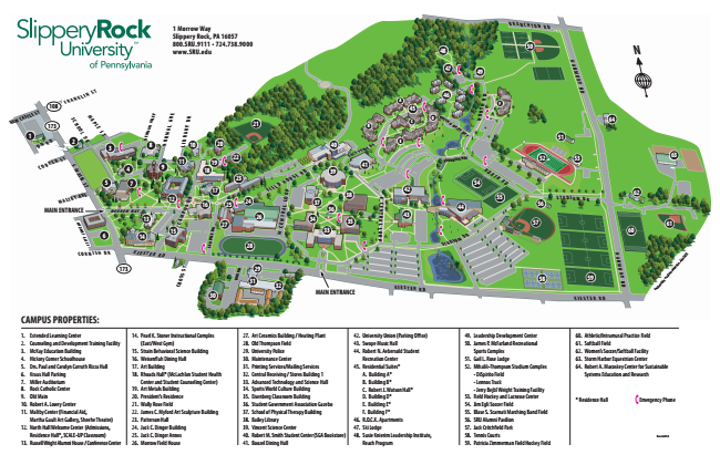 Slippery Rock Campus Map Slippery Rock Campus Map | World Map Gray