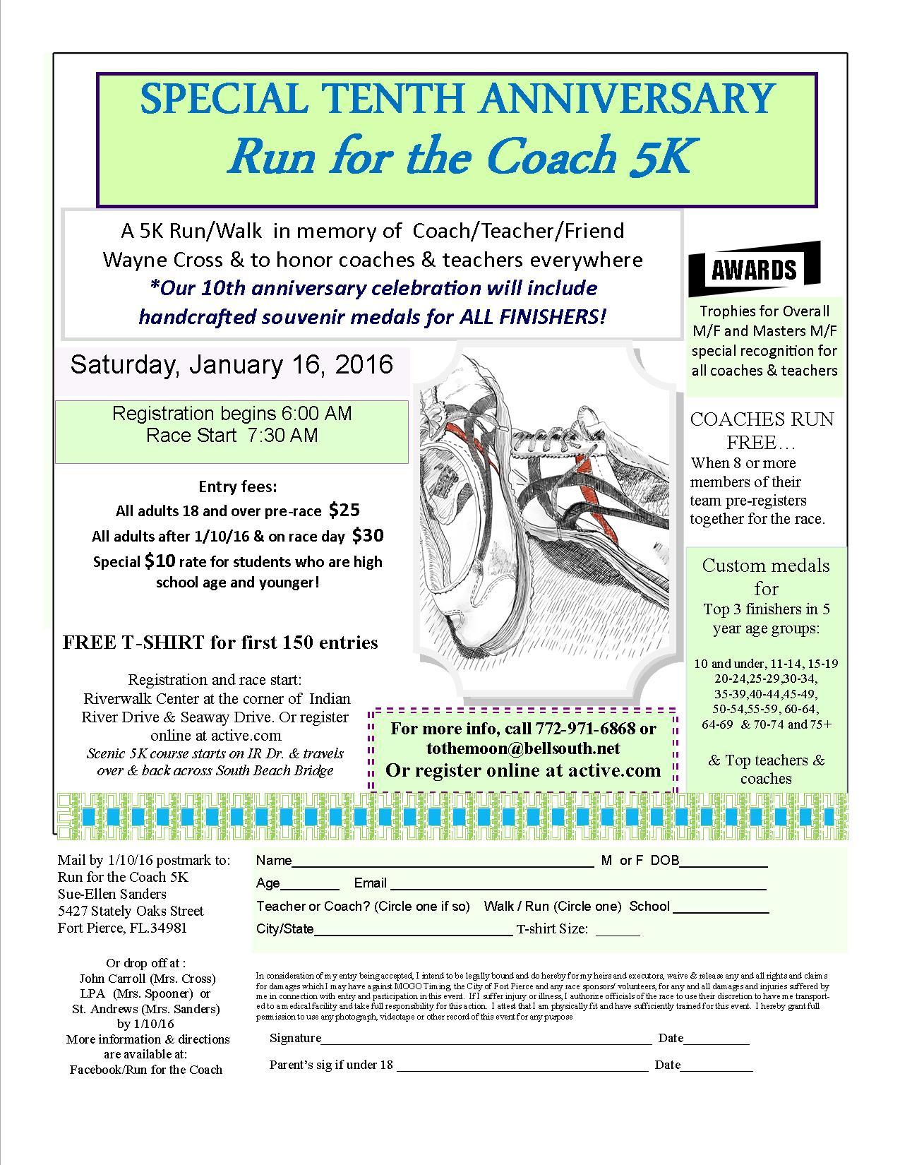 Run for the Coach 5K - 10th Anniversary - Fort Pierce, FL