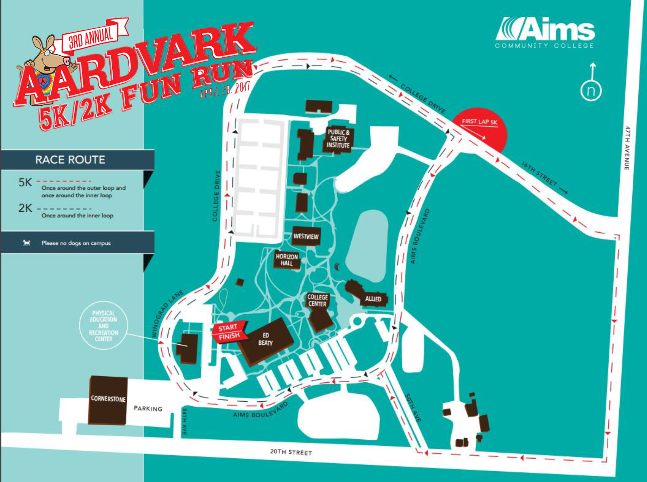 Aims Community College 3rd Annual Aardvark 5K/2K Fun Run   Greeley