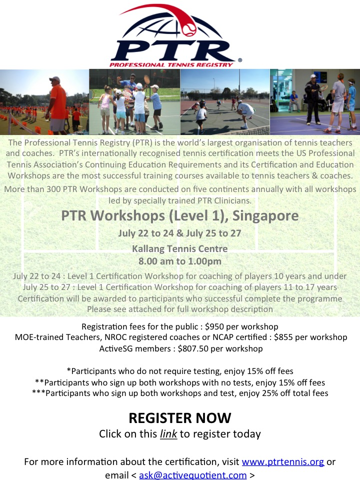 Ptr Tennis Certification Workshop Level 1 For Coaching 11 To 17
